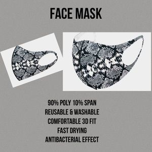 Accessories - Fashion Black/White Snake Print Mask